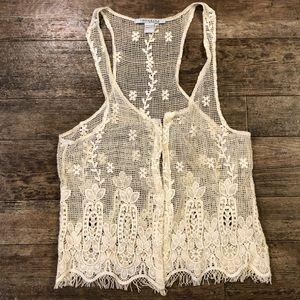 NWOT Rezrekshn lace vest